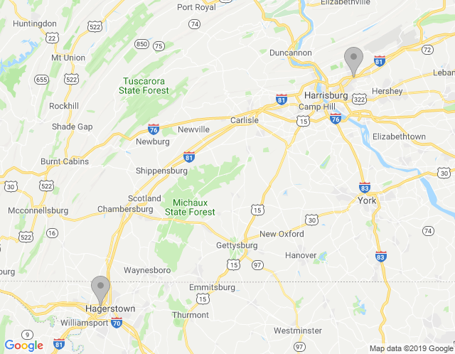 Map of Phillips Workplace Interiors – Harrisburg PA